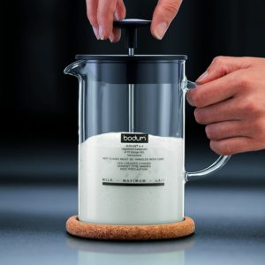 Bodum 1446-01 Milchschäumer mit Glasgriff Latteo, schwarz - PLATZ 4
